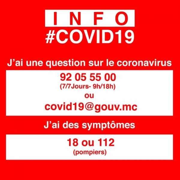 Informations sur le Covid-19 en Principauté de Monaco